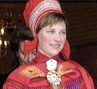 Princess Märtha Louise in Sami costume on a visit to Finnmark county in 2000.