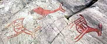 4000 år gamle helleristingar i Vingen.