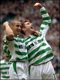 Henrik Larsson ble igjen matchvinner for Celtic, men laget kan få det tøft i Spania i returen.