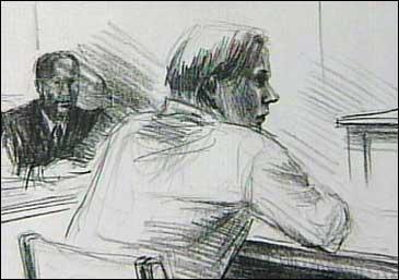 Den andre tiltalte måtte svare for seg i retten i dag. Teikning: Elin Fagertun