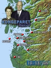Kommunene som Kongeparet besøker på sin reise i Rogaland