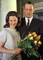 Royal engagement: Miss Sonja Haraldsen and Crown Prince Harald in 1968.