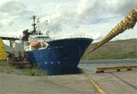 Dykkerskipet Mayo, her ved kai i Kirkenes, er nå på plass ved Kursk