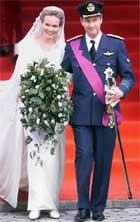 Kronprins Philippe og prinsesse Mathilde av Belgia under bryllaupet deira i 1999. Foto: Scanpix